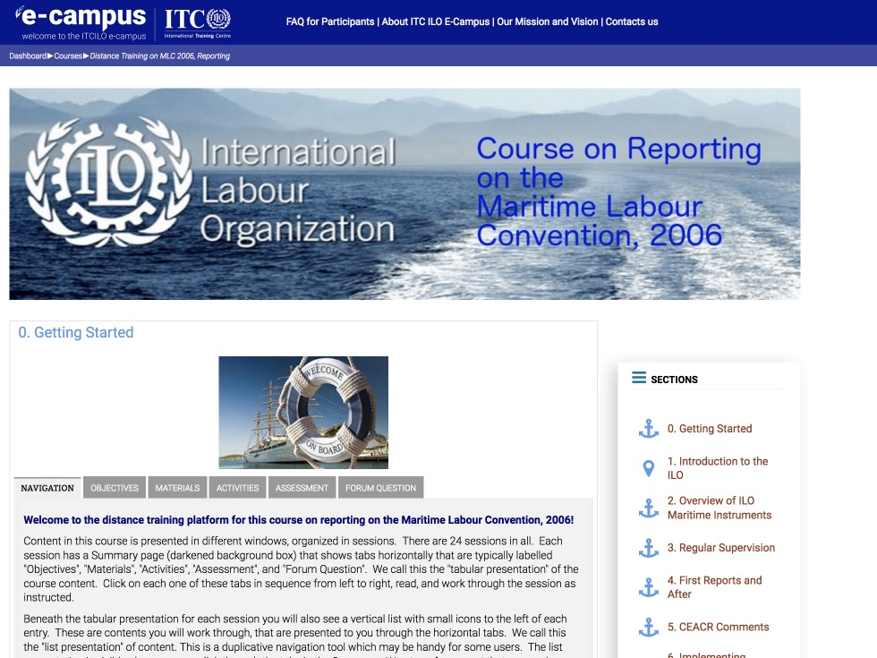 Maritime Labour Convention reporting distance training course